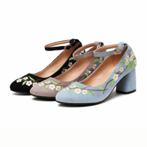 flower suede hanfu shoes