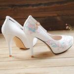 rose high heels hanfu shoes