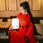 royal heroine red hanfu robe