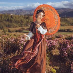modern hanfu red-lotus