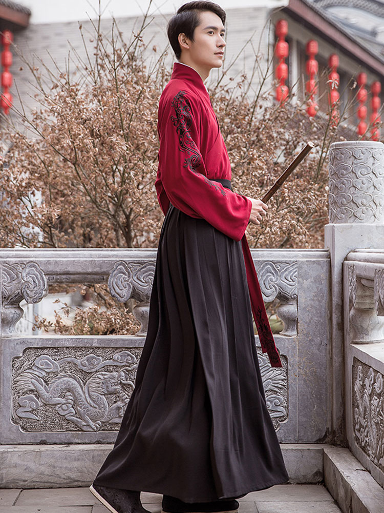Shop Hanfu Men Red Clothing