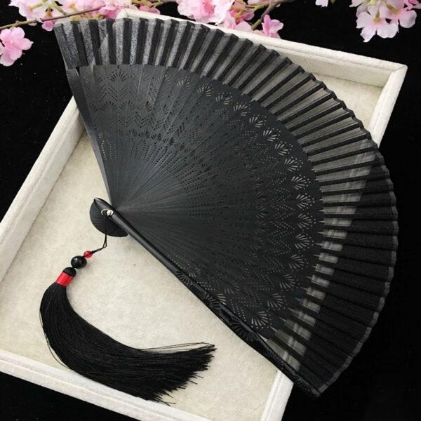 black fan hanfu accessory