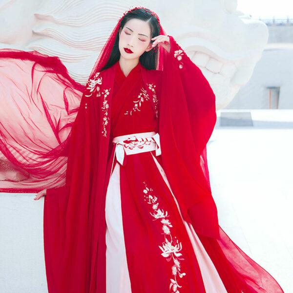 red wedding hanfu dress