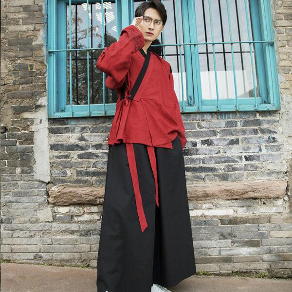shop male hanfu red