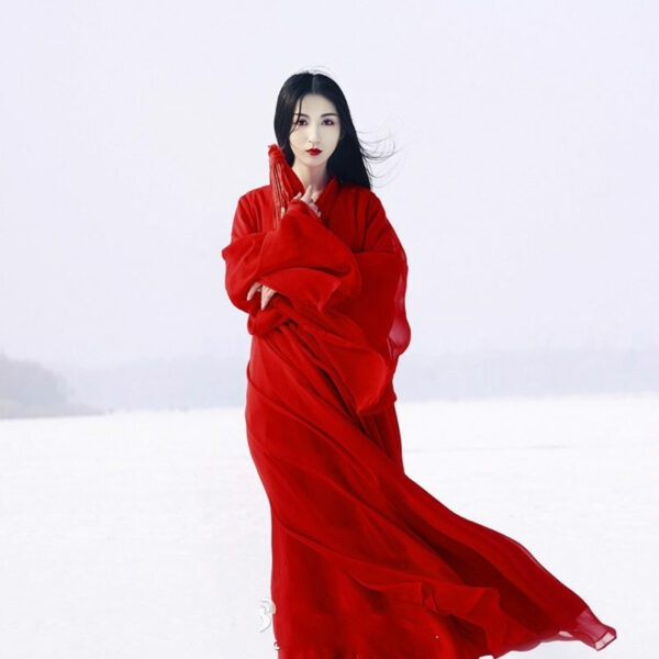snow girl red white hanfu dress shop